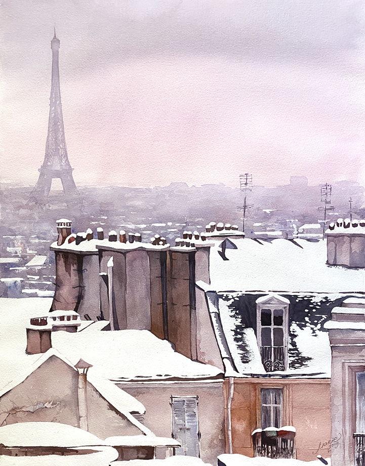 """Акварель """"Париж зимой"""""""