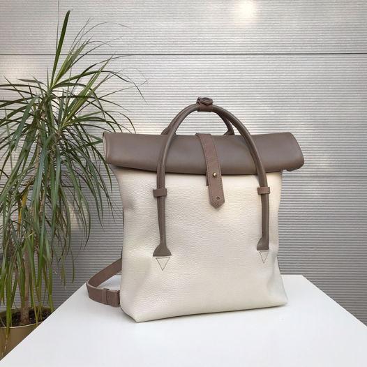 Кожаный рюкзак-сумка Rolltop Cacao/Cream
