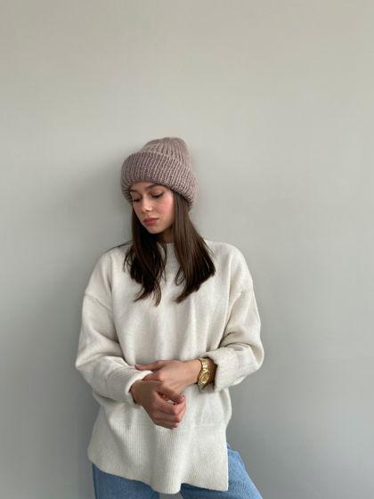 Двухслойная шапка из мохера, цвет норка