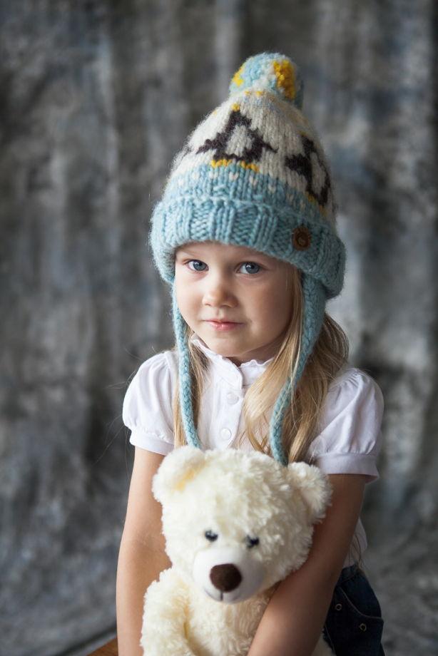 """Голубая детская зимняя шапка """"Пингвины"""" из 100%ной мягкой шерсти"""