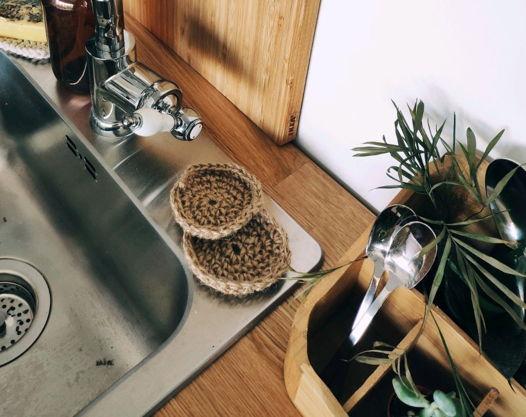 Губка для мытья посуды круглая из джута