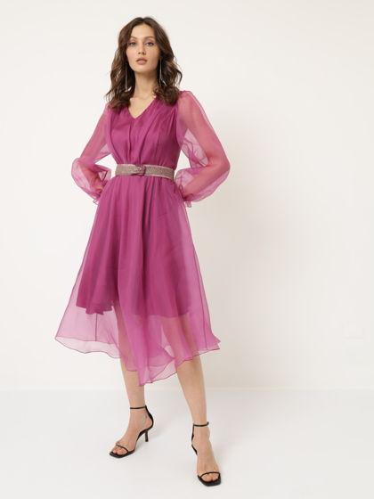 Платье из органзы малиновое