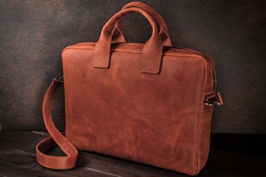 Мужская кожаная деловая сумка / сумка для ноутбука -OXFORD- цвет Коньяк
