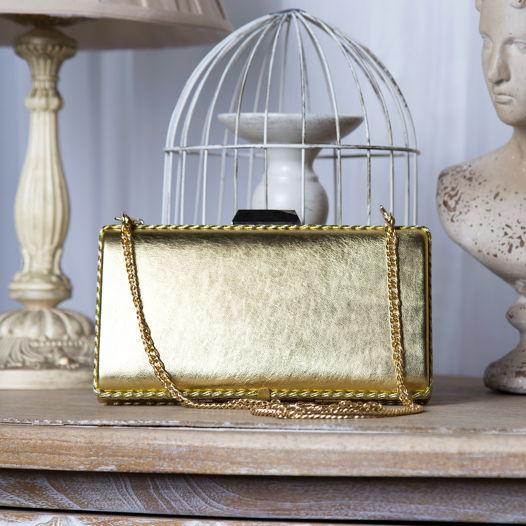 Клатч золотой из натуральной кожи Golden Basic