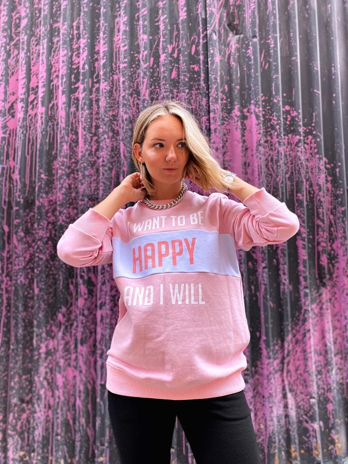 Свитшот с надписью BE HAPPY