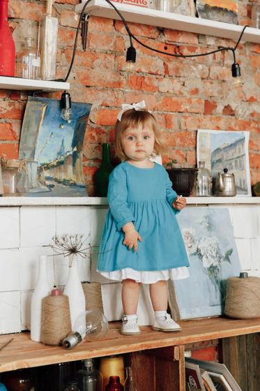 Платье из хлопка со съемным подъюбником в цвете бирюза