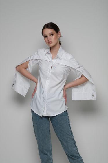 Деловая женская рубашка-кейп с вышивкой