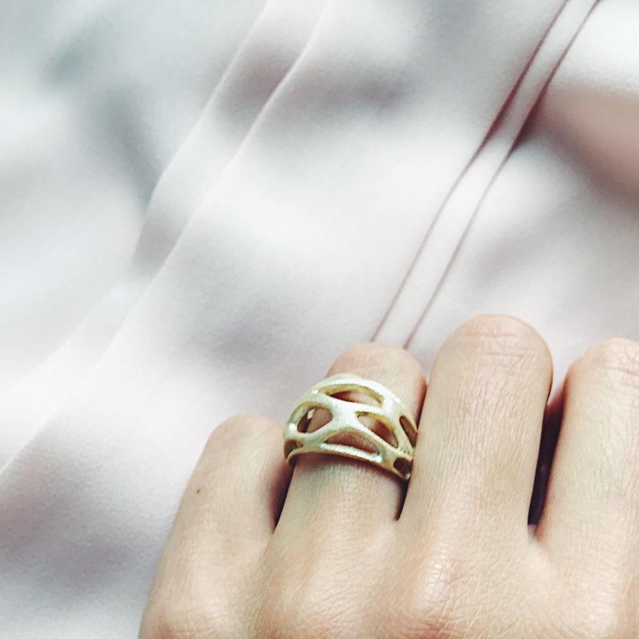 "Кольцо ""Voronoi"" серебро/позолота"
