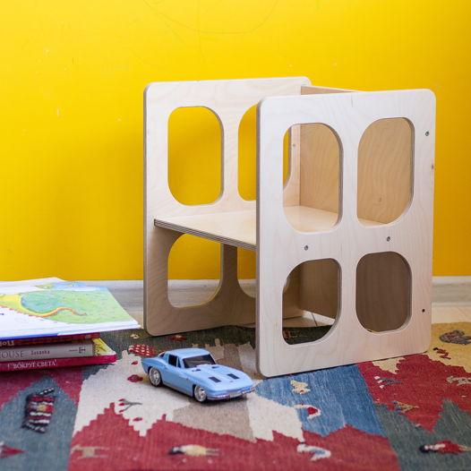Деревянный детский стул-трансформер Монтессори Киддис, цвет натуральное дерево