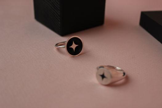 """Кольцо из серебра чаша """"Звездная ночь"""""""
