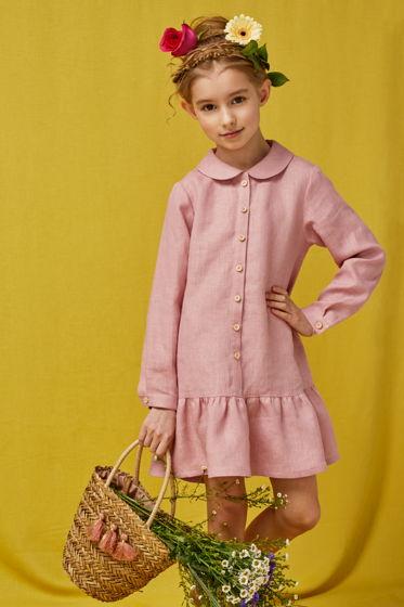 Платье для девочки Анна-царевна (розовый лен)