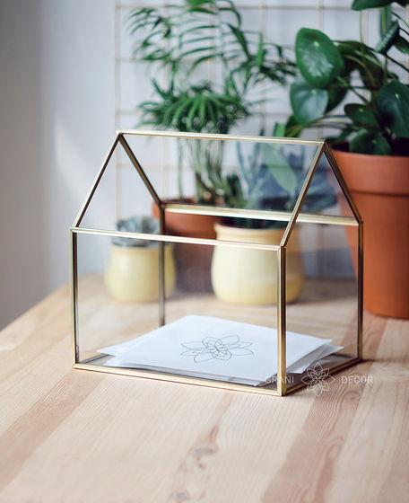 Золотой Стеклянный Ящик Домик для Конвертов на Свадьбу или Хранения Мелочей