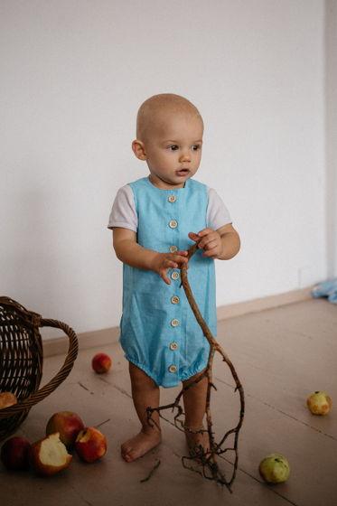 Хлопковый боди для малышей унисекс цвет голубой в мелкий белый горох