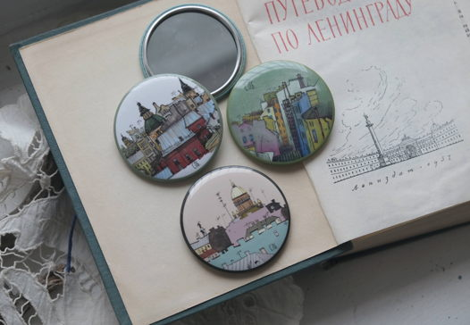 """Карманное зеркало """"Крыши Петербурга"""""""