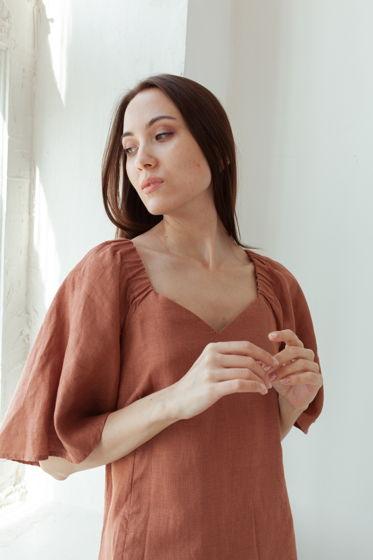 Платье макси льняное коричневое для девушки