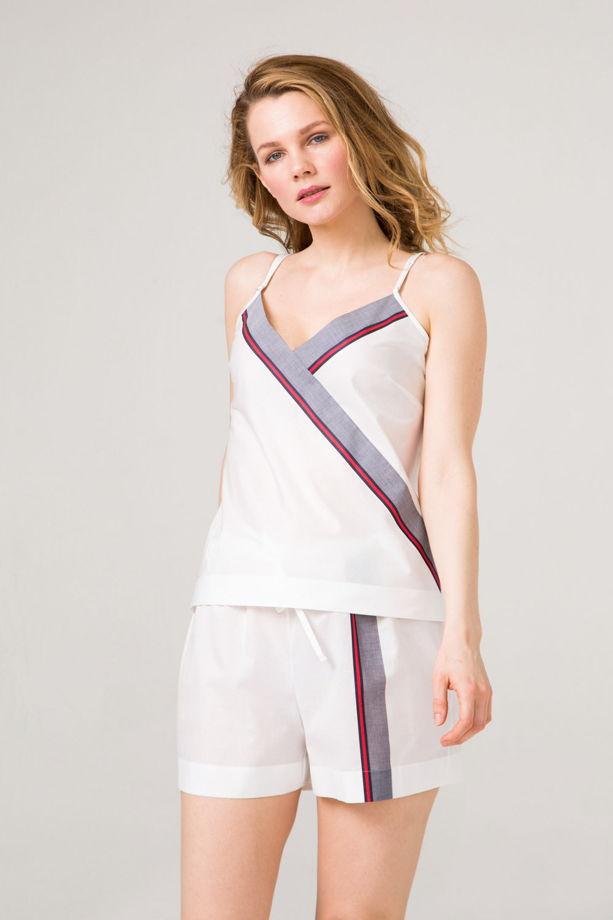Хлопковый пижамный комплект  топ и шорты из 100%  хлопка принт Гуччи.