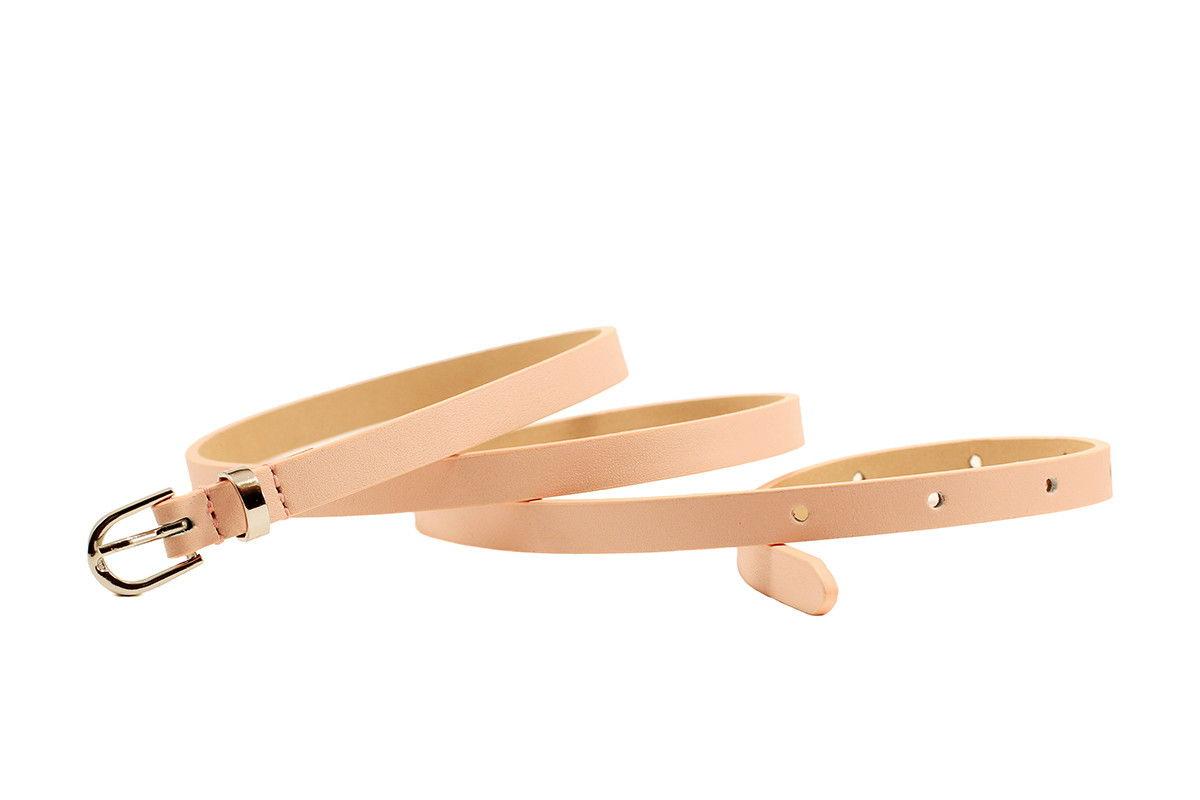 Кожаный узкий ремень светло-розовый