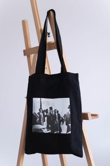 Льняной черный шоппер с фотографией