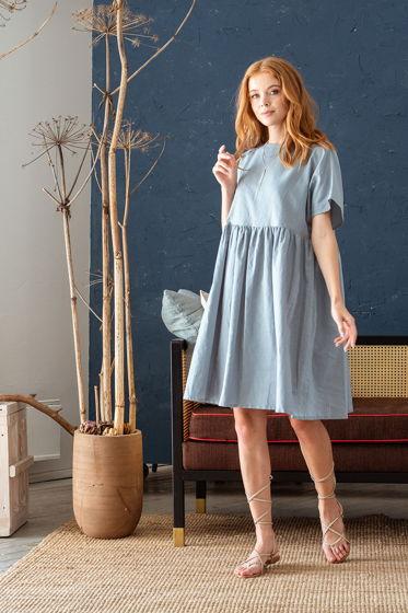 Платье свободное Ферре в стиле бохо, голубой