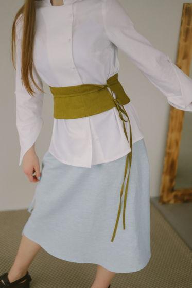 Льняной пояс в японском стиле с завязками