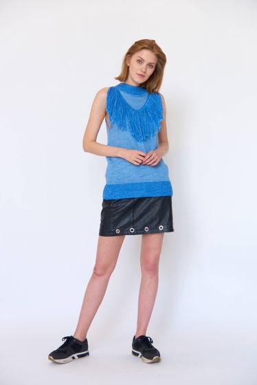 Голубой вязаный топ с бахромой