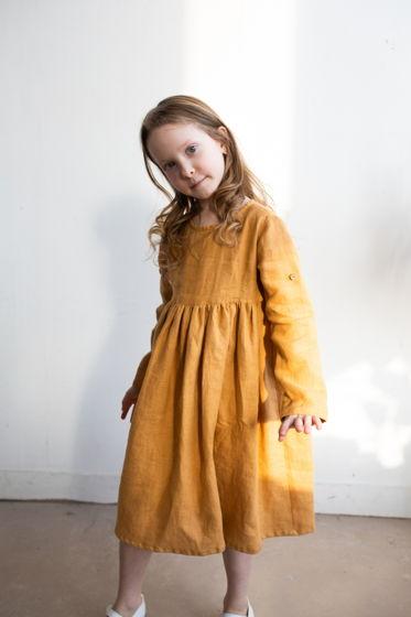 Льняное платье МЕДОВОЕ 86-152