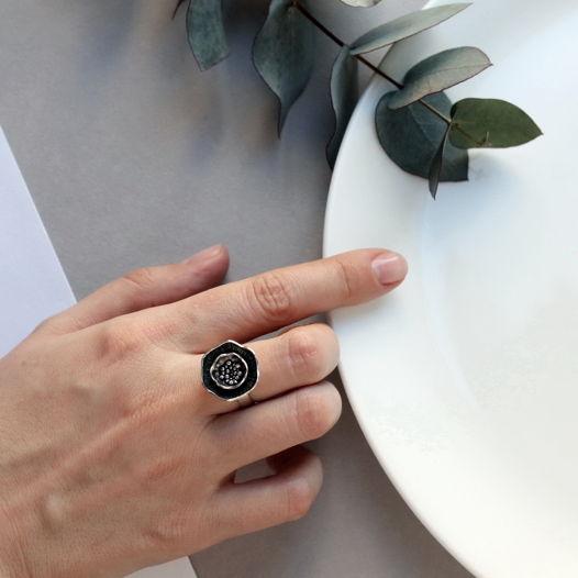 Крупное серебряное кольцо Цветок мака