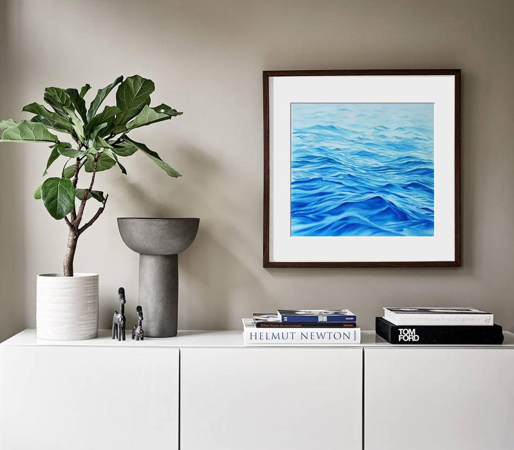 """Акварельная картина """"Нежный океанский рассвет"""" (55 х 47 см)"""