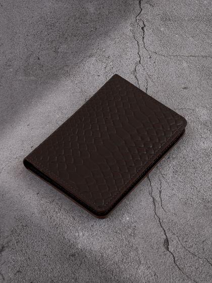 """Обложка для паспорта """"Евро"""" с вкладышем для автодокументов Горький шоколад"""