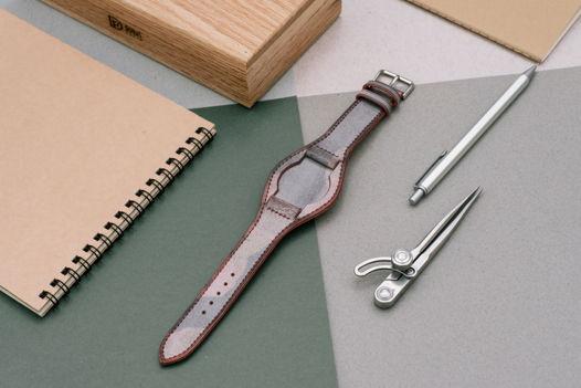 Ремень для часов bund strap из красной кожи Camo Wax
