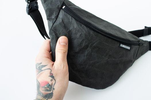 Поясная сумка из крафтовой моющейся бумаги. Сумка на пояс. бананка.