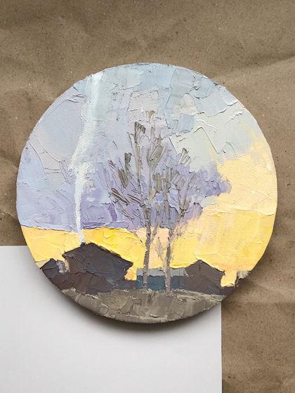 Круглая картина «Дымок»