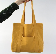 Жёлтая сумка шопер из микровильвета