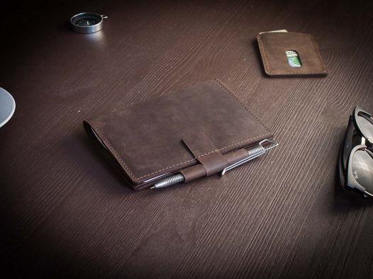 Кожаный деловой блокнот -BRAINSTORM- А6 цвет Шоколад