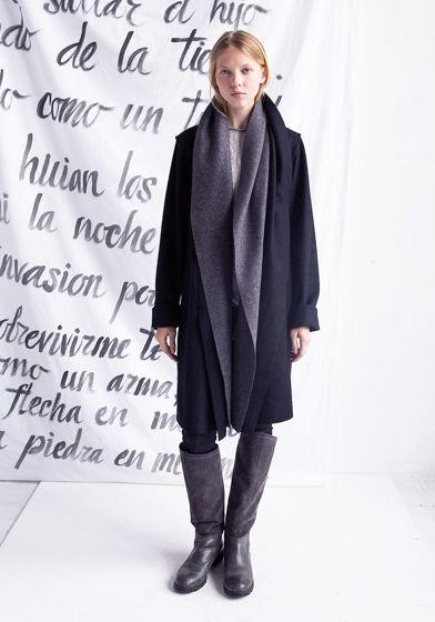 Черное / графитовое пальто #25 с двойным воротом