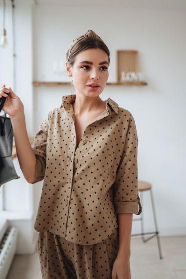 Женская рубашка оверсайз из тёплого хлопка