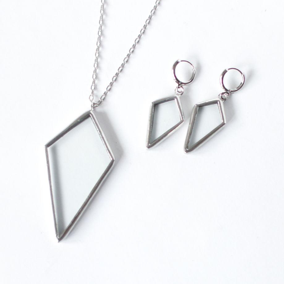 Серьги прозрачные геометрические