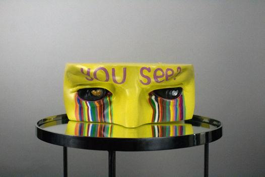 """Гипсовая скульптура глаза Давида """"YOU SEE?"""", 22х45х18 см"""