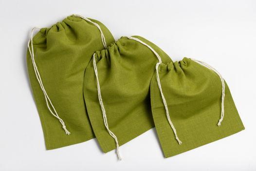Льняные мешочки из плотного материала комплект из 3 шт.