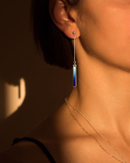 Серьги серебряные «Градиент синего»