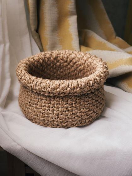 Большая корзинка «мешочек» из джута с подворотом