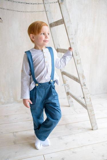 Рубашка для мальчика Илья Муромец (полоски на белом)