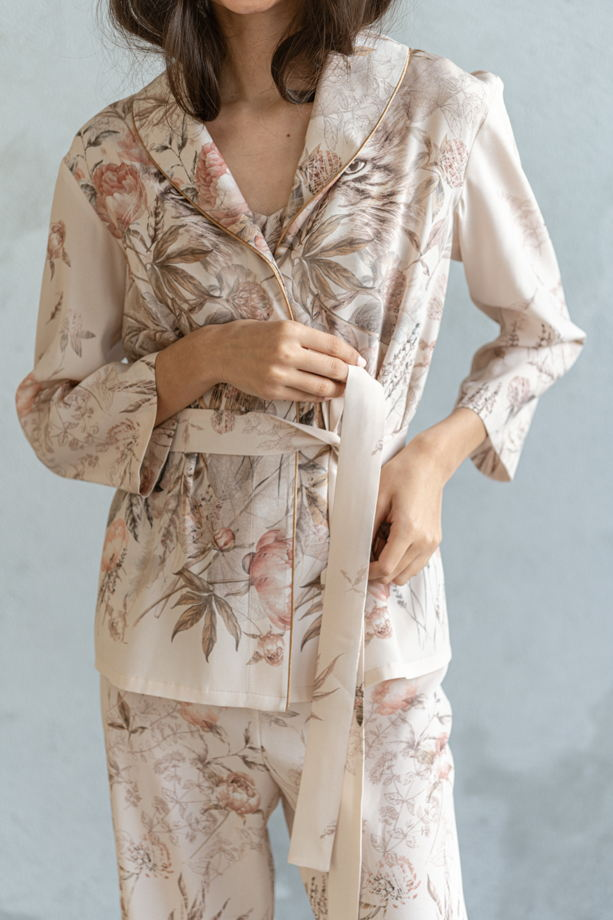 Пижама с широкими брюками из шёлка