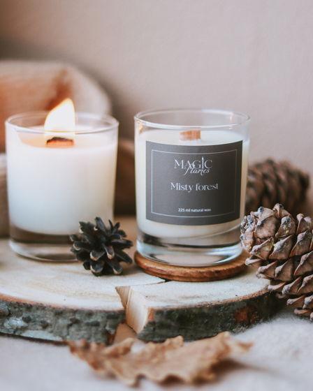 """Ароматическая кокосовая свеча """"Misty forest"""" с древесным фитилем ручной работы"""