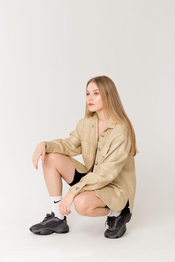 """Рубашка oversize """"Natasha"""" из шёлка и льна с золотым напылением"""