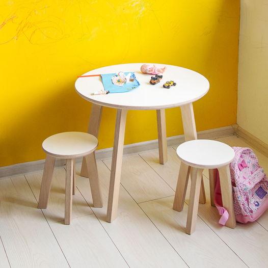 Детский круглый стол и два табурета Kiddy's Store, комплект детской мебели стол и два табурета