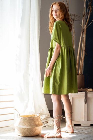 Платье свободное Ферре в стиле бохо, зелёный