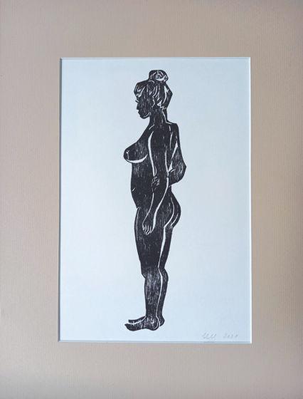 Моторина Ирина. Женская фигура. Линогравюра. 30 х 40 см