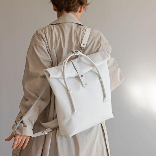 Кожаный рюкзак-сумка Rolltop White