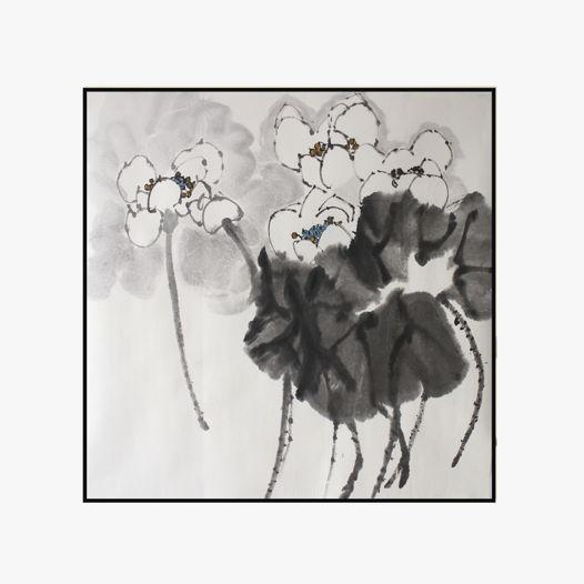 """""""Белый лотос"""", картина в традиционном китайском стиле се-и  (70 * 70 см)"""